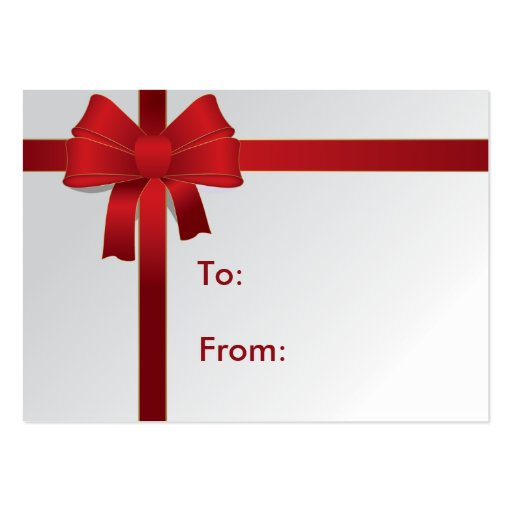 Red Bow Gift Tag Business Card Templates