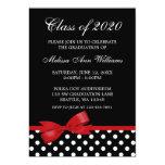 Red Bow Polka Dots Graduation Announcement 13cm X 18cm Invitation Card