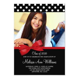"Red Bow Polka Dots Photo Graduation Announcement 5"" X 7"" Invitation Card"