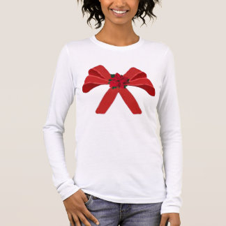 RED BOW with poinsettia Long Sleeve T-Shirt