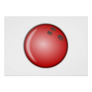 Red Bowling Ball Poster