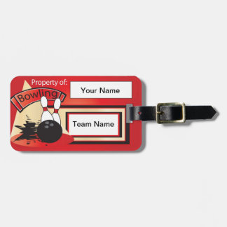 Red Bowling Pins and Ball | Bowler Luggage Tag
