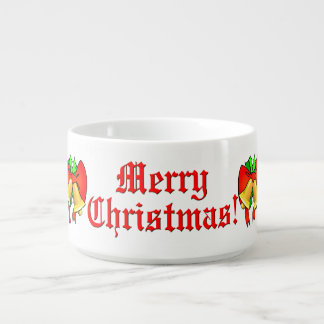 Red Bows Golden Bells Festive Merry Christmas Chili Bowl