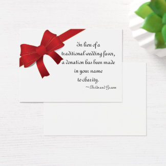Red Bows Winter Wedding Charity Favor Card