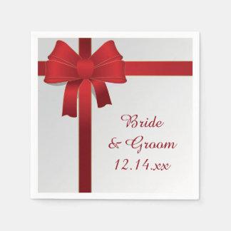Red Bows Winter Wedding Paper Napkin