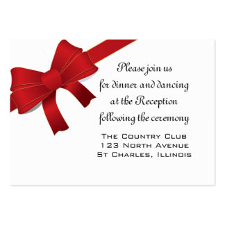 Red Bows Winter Wedding Reception Card Business Card Template