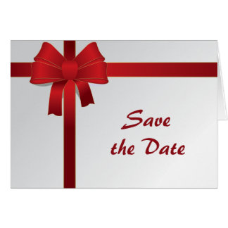Red Bows Winter Wedding Save the Date Card