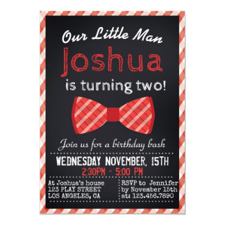 RED BOWTIE PARTY INVITATION FOR A BOY