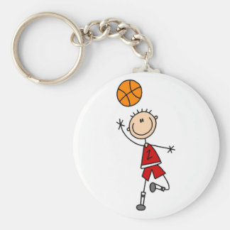 Red Boys Basketball T-shirts and Gifts Basic Round Button Key Ring