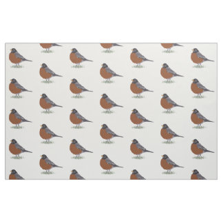 Red Breasted American Robin Digitally Drawn Bird Fabric