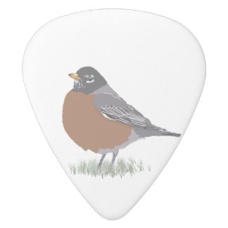 Red Breasted American Robin Digitally Drawn Bird White Delrin Guitar Pick