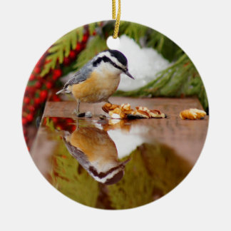 Red-breasted Nuthatch Round Ceramic Decoration