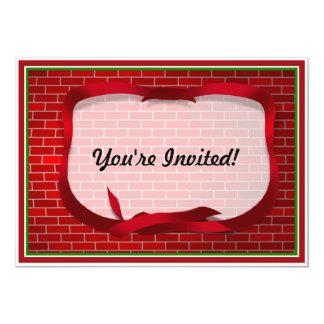 Red Brick Background Personalized Invitation