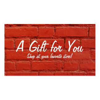 Red Brick Gift Card Pack Of Standard Business Cards