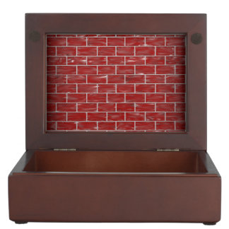 Red Brick Photo Keepsake Wooden Box
