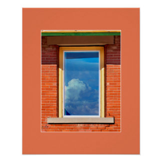 Red Brick Sky Window artprint Poster