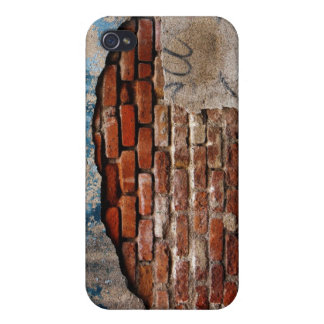 Red Brick Under Graffiti Laced Cement Wall Covers For iPhone 4