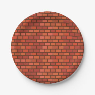 Red brick wall paper plate