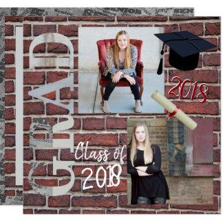 Red Brick Wall Photo  - Graduation Card