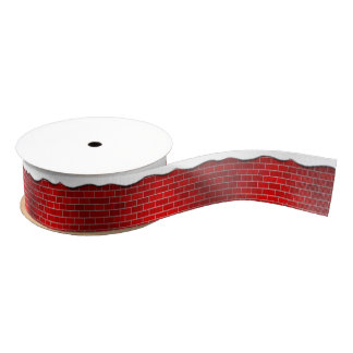 Red Brick with Snow Drift - Snowy Top Grosgrain Ribbon