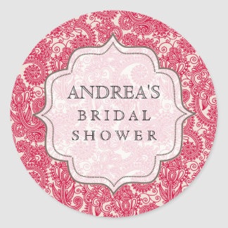 Red Bridal Shower Dessert Table Tag Label Classic Round Sticker