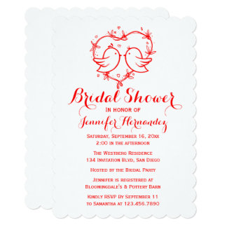Red Bridal Shower Lovebirds & Heart Wedding Party Card