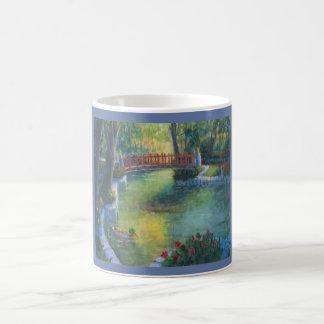 Red Bridge at Sunrise with Ducks Coffee Mug