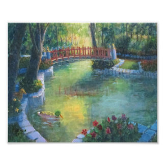 Red Bridge at Sunrise with Ducks Photo Print