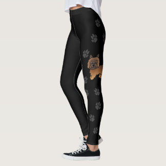 Red Brindle Cairn Terrier Cartoon Dog With Paws Leggings