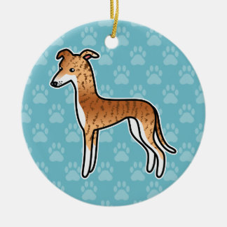 Red Brindle Greyhound / Whippet Ceramic Ornament