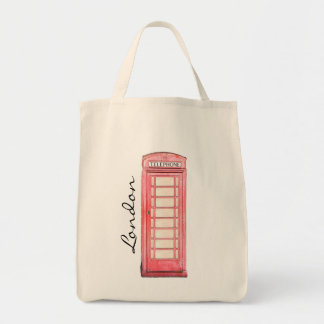 Red British phone booth - London tote