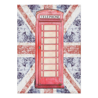 red british phone booth on grunge Union Jack Poster