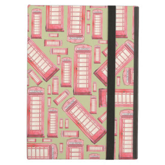 Red british phone booth pattern iPad case