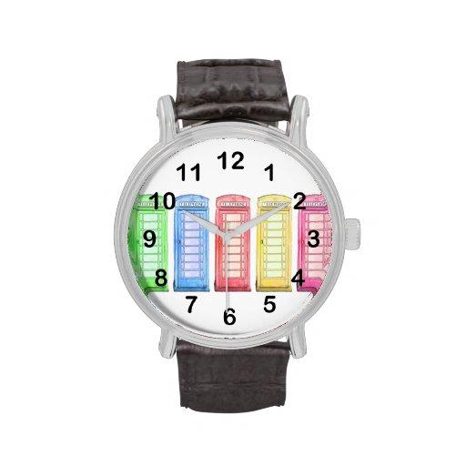 red british phone box - multicolored wristwatch