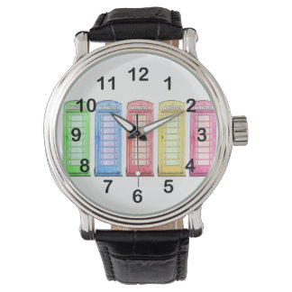 red british phone box - multicolored wristwatch