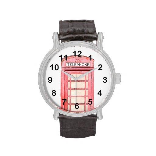 red british phone box - wrist watch