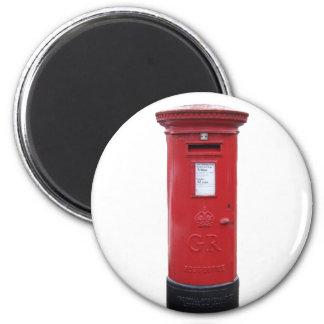 Red British Post box 6 Cm Round Magnet