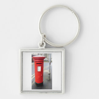 Red British Post Box Silver-Colored Square Key Ring