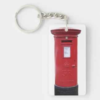 Red British Post box Single-Sided Rectangular Acrylic Key Ring