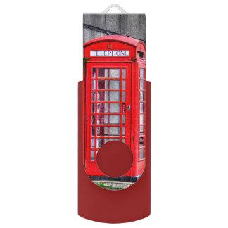 Red British Telephone Box Phone Kiosk Design Swivel USB 2.0 Flash Drive