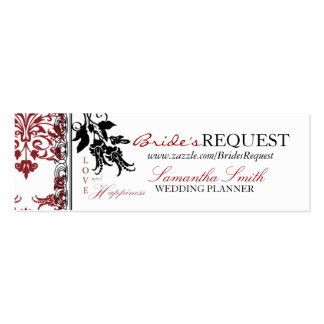 Red Brocade Skinny Business Card 2