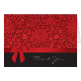 Red Brocade Thank You Card