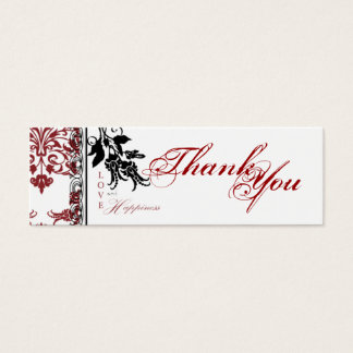 Red Brocade TY Skinny Gift Tag Mini Business Card