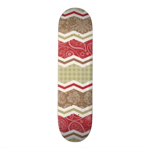 Red, Brown, and Khaki Country Patterns Skate Board Decks