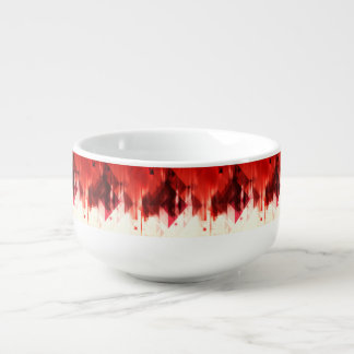 Red Brown And White Geometrical Pattern Soup Bowl With Handle