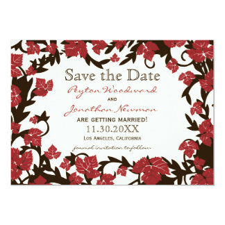 Red Brown Autumn Leaves Save the Date Card