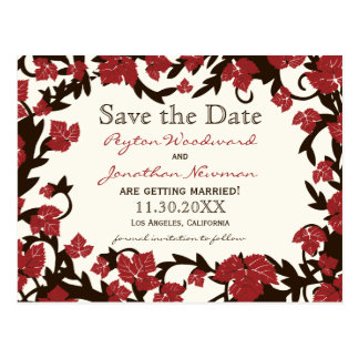 Red Brown Autumn Leaves Save the Date Postcard