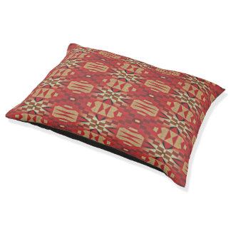 Red Brown Beige Orange Eclectic Ethnic Art Pet Bed