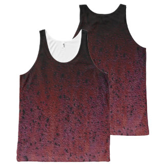 Red Brown Black Ombre Rust Metal Patina All-Over Print Singlet