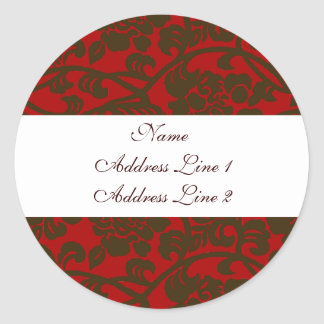 Red Brown Damask Address Labels Round Sticker